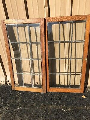 "Dcm81 Pair Antique Oak Lighted Cabinet Doors 50.25 X 48"" H"