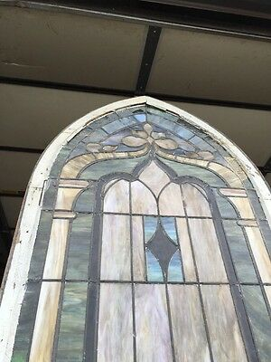 "Ca 5Antique Stained Glass Window 129"" X 32 And Three-Quarter Inches 10"