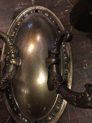 L T 14 Matched Pair Antique To Arm Brass Wall Sconces 5