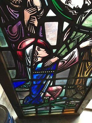 Sg 624 Very Beautiful Antique Religious Figure Window 4 Figures 5