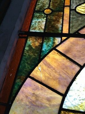 Ca14 Antique 1890S Stainglass Landing Window 8