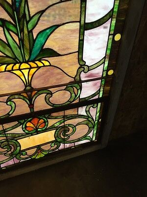 Sg 10 Gorgeous Antique Floral Landing Window Victorian Stained Glass 10