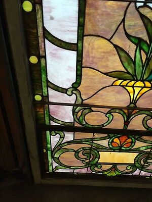 Sg 10 Gorgeous Antique Floral Landing Window Victorian Stained Glass 9