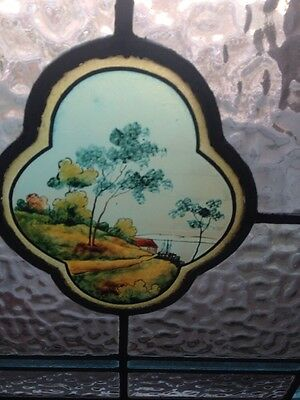 Antique Stain Glass Window With The Center Portrait Of Trees And Water T4 2