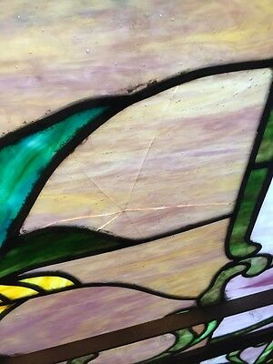 Sg 10 Gorgeous Antique Floral Landing Window Victorian Stained Glass 11