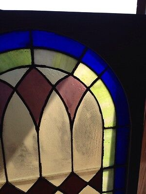 Sg 132 Antique Arched Stained Glass Window 33.5 X 63.25 High 4
