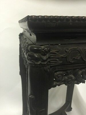 Antique Chinese Hardwood Carved Marble Inset Side table 3