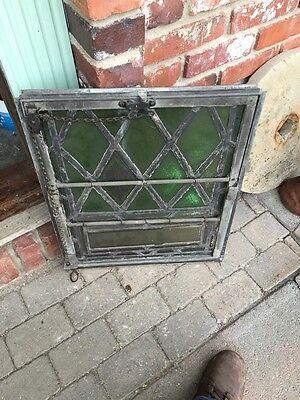 Sg 327 Two Matching Antique Fluer De Lis Windows In Cast-Iron Frames 5