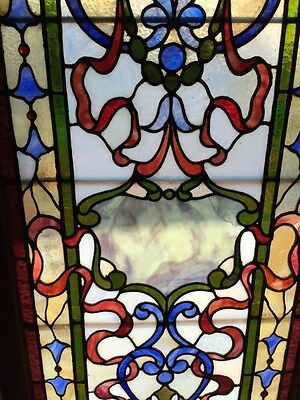 Sg 264 Antique Stainglass And Jeweled Landing Window 3