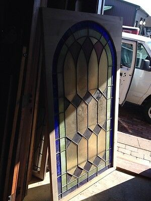 Sg 133 Antique Arch Top Stainglass Window Very Good 33.25 X 63.25 High 5