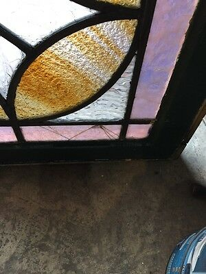 Sg 360 Antique Stainglass And Textured Glass Transom Window 5