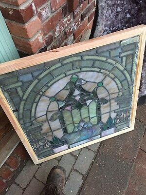 St 1146 Antique Stainglass Window Painted And Fire Design In Center 31 In.²