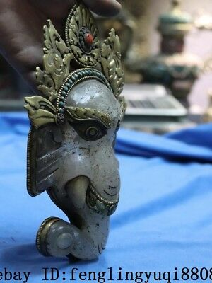 Tibetan Old Copper Gold Gilt Inlay Turquoise Coral Crystal Elephant Head Statue 8