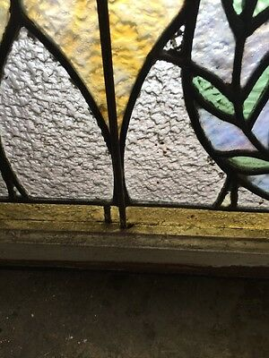 Rk 28 Antique Stainglass Arch Window 23 X 34.5