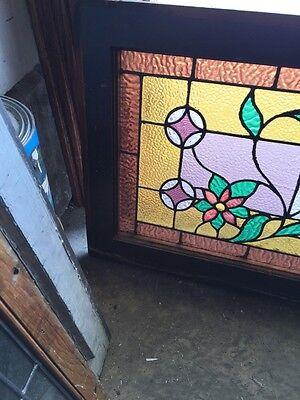 Sg 588 Antique Floral Vine Transom Window Beveled Glass Center 2