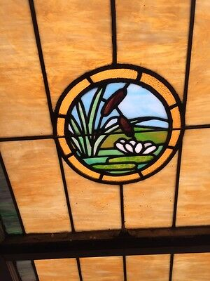Sg 871 Antique Stainglass Lily Pad/Cat Tail Landing Window 2