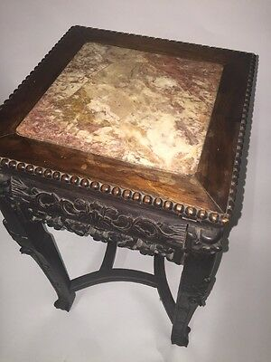 Antique Chinese Hardwood Carved Marble Inset Side table 11