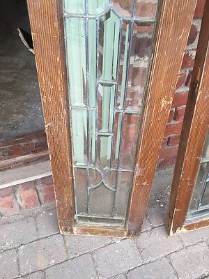 "Sg 747 Matched Pair Antique All Beveled Glass Sidelights 12"" X 47"" 6"