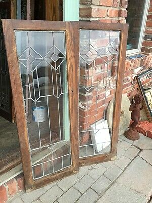 Sg 363 One Pair Antique Leaded GlassCabinet Doors Or Windows 10
