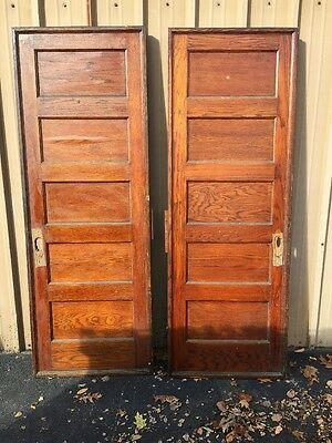 Cm 83 One Pair Antique Flat Panel Oak Pocket Doors