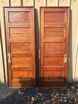 Cm 83 One Pair Antique Flat Panel Oak Pocket Doors 5