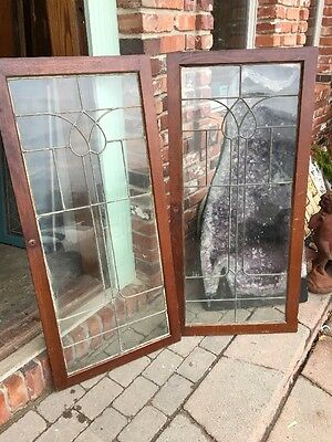 Sg 952 Matched Pair Antique Leaded Glass Bookcase Doors 4