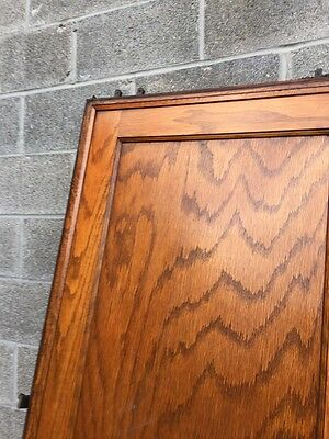 Dz 1  1set Antique Two Panel Flat Oak Pocket Doors With Tracking And Wheels 8