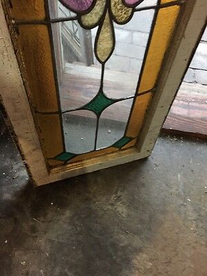 Rk 16 Antique Stained Glass Transom Window With Beveled Center 16 X 58