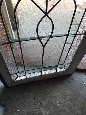 Sg 582 Antique Textured Glass Beveled Glass Center Transom Window 4