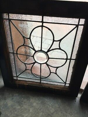 Sg 370 Matched Pair Antique Leaded Glass Textured Glass Windows 2