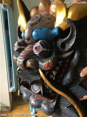 China Folk Wood Carved Hand-painted Drawing Color Dragon Head Mask Statue 8