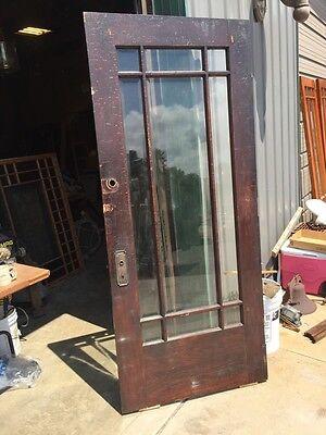 D 225 Antique Oak Painted Townhouse Entrance Door Beveled Glass 7