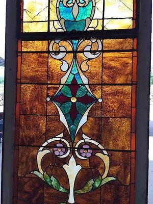 "Ca 11 Antique Stain Glass Window 36"" X 8' 3"