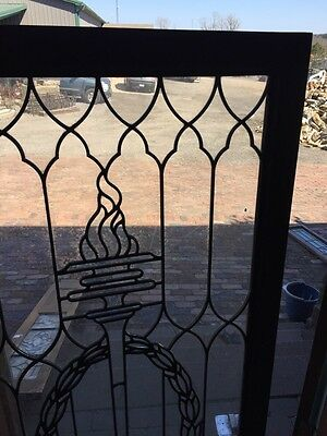 Sg 794 Antique Torch And Wreath Leaded Glass Window 3
