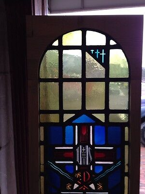 Sg 215 Antique Religious Window With Chalice And Stags 2