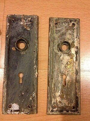 Vintage Doorknob Set With Back Plates, Metal, Antique Restoration 7