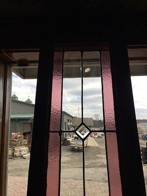 Sg 471 Antique Dual Jewel Transom Glass Window Beveled Center