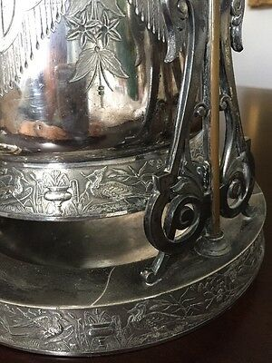 Antique Victorian Silver plate Tilting Water Pitcher with stand and goblet 7
