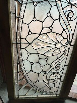 Sg 366 Amazing Arch Jeweled Beveled Glass Transom Window 3