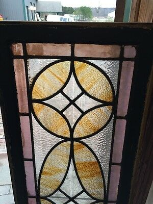 Sg 360 Antique Stainglass And Textured Glass Transom Window