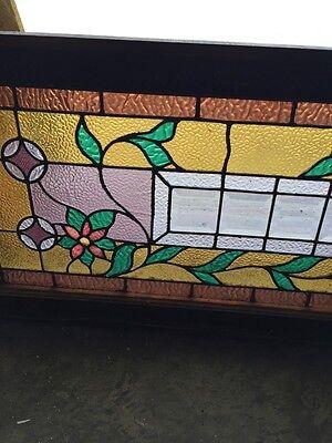 Sg 588 Antique Floral Vine Transom Window Beveled Glass Center 3