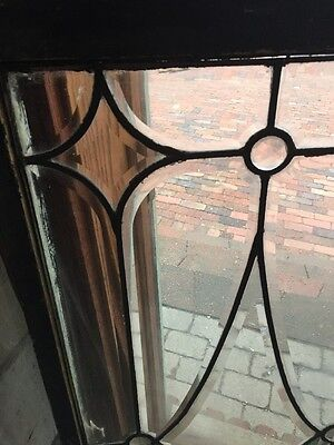 Sg 1136 Antique All Beveled Glass Transom Window Width For Jewels