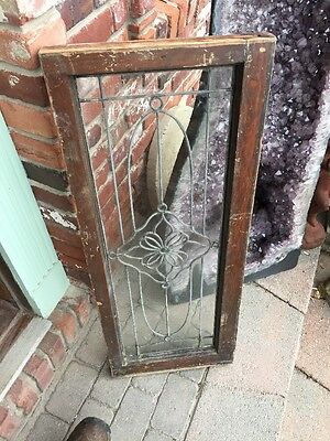 Sg 888 Antique Leaded Glass Floral Design Transom Window 5
