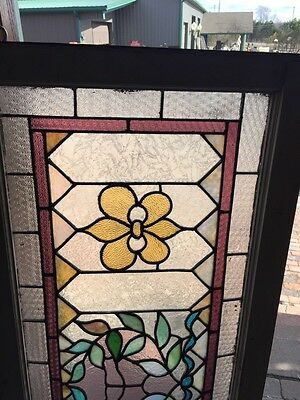 Sg 466 Antique Transom Glass Window Floral Pattern Good Original Condition 2
