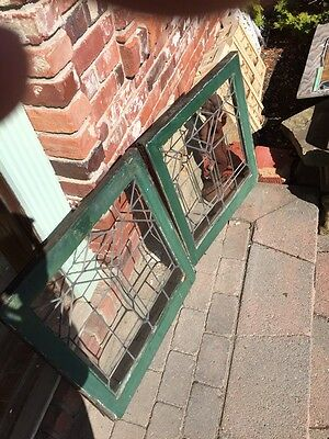 """Sg688 Two Available Price Separate Leaded Glass Windows Antique 24.25 X 25"""" High 4"""