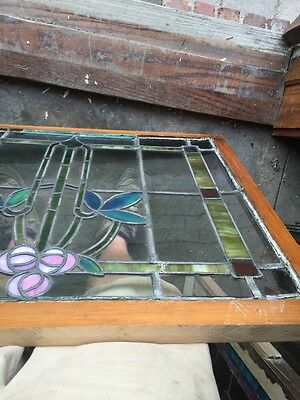 Sg 805 Antique Arts And Crafts Laurel Stainglass Window 11