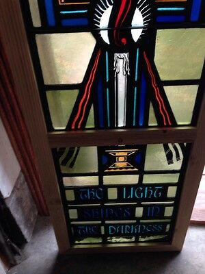 Sg 210 Antique Painted And Fired Candle Window Religious Symbolism 3