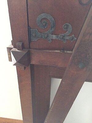 Antique Quartersawn Oak Fancy Mission Mantle With Clock 12