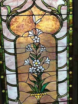 Sg 10 Gorgeous Antique Floral Landing Window Victorian Stained Glass 2