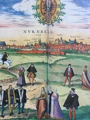 Old Historic Antique Map Nuremberg, Germany 1575 Braun & Hogenberg REPRINT 1500s 2